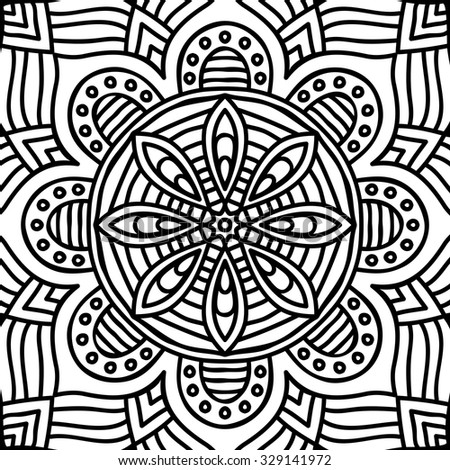 Mandala. Coloring page. Vintage decorative elements. Oriental pattern, vector illustration.  Islam, Arabic, Indian, turkish, pakistan, chinese, ottoman motifs