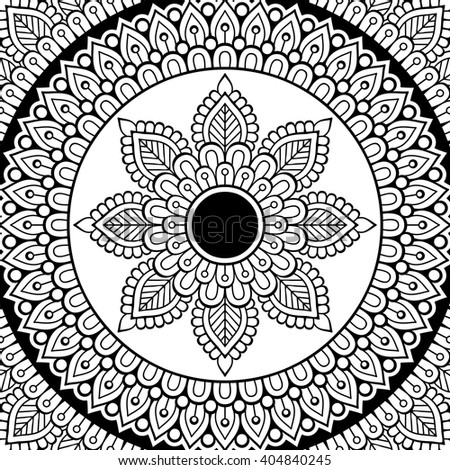 coloring page vintage decorative elements oriental pattern vector illustration islam