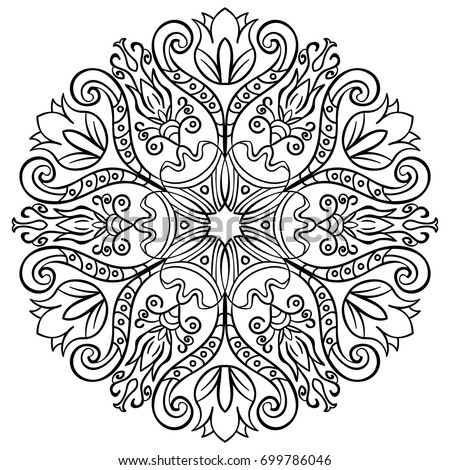 Ornamental round floral pattern colorful ornament for Coloring pages with lots of detail