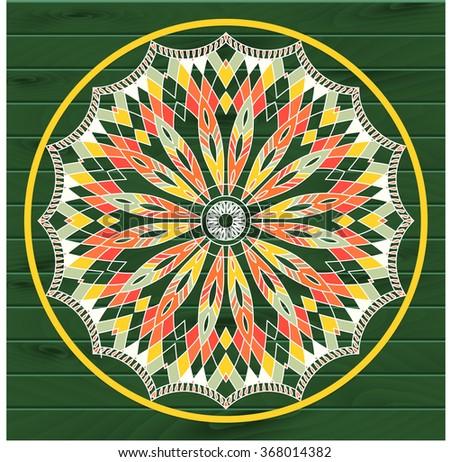 Mandala. Dreamcatcher. Ethnic decorative elements on the wooden texture - stock vector