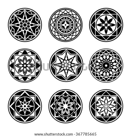 mandala elements tattoo icon set star stock vektor. Black Bedroom Furniture Sets. Home Design Ideas