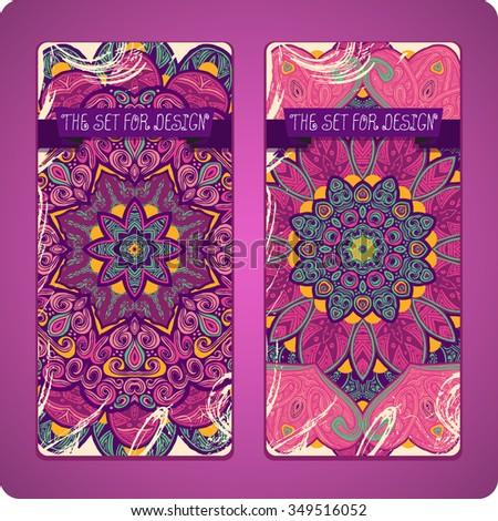 Mandala. Ethnic decorative backgrounds. Hand drawn background. Islam, Arabic, Indian, ottoman motifs. Set cards.  - stock vector