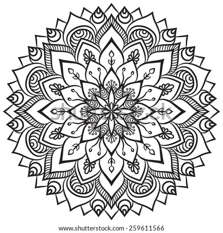 Mandala. Ethnic decorative elements. Hand drawn background. Islam, Arabic, Indian, ottoman motifs.  - stock vector