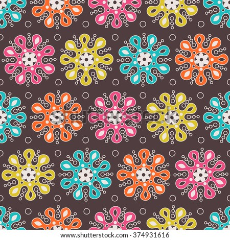 Mandala ethnic tribal seamless pattern on brown background. African, Arabian, Indian, ottoman, Moroccan motifs. Vector