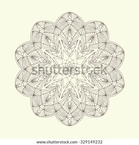 Mandala. Floral ethnic abstract decorative elements. Hand drawn background. Islamic, arabic, indian, zentangle, tribal, african motif. Texture for coloring page, tattoo, mehendi, print, card, t-shirt. - stock vector