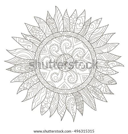 Mandala Flower Sunflower Coloring Adults Vector Stock Vector ...