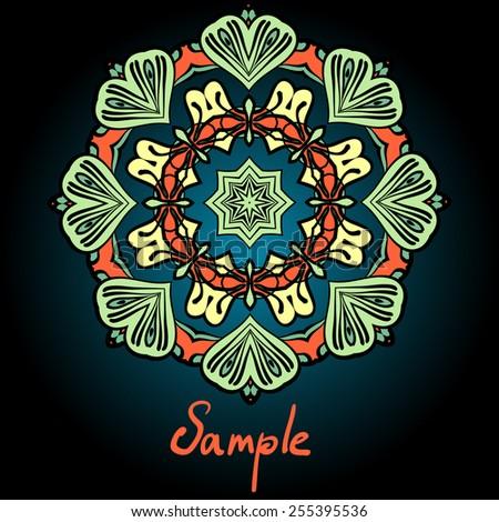 Mandala flyer design. Tribal vintage element template.  - stock vector
