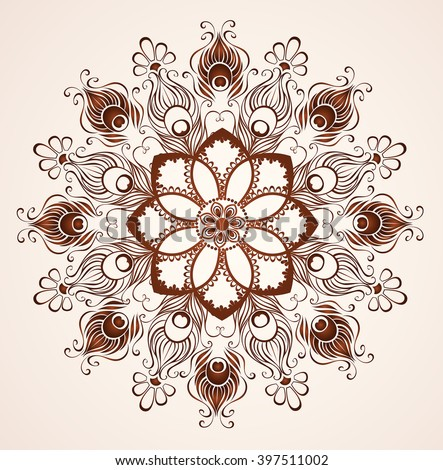 mandala of peacock feathers painted with henna on a light background.