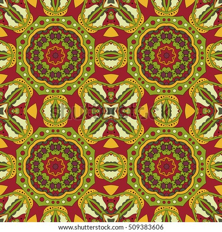 Mandala. Oriental pattern. Turkey, Egypt, Islam. Traditional seamless ornament. Doodle drawing. Relaxing picture. Red and orange