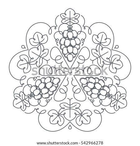 Mandala Ornament Of Grape Fruit And Leaves