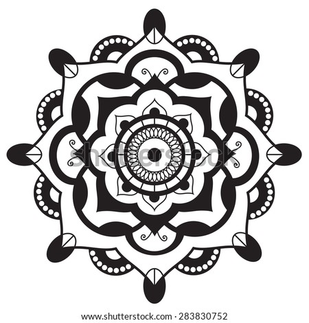 Mandala.Pagan symbol. Schematic representation of the sacred - stock vector