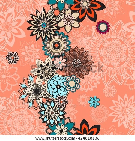 Mandala pattern, floral elements, decorative ornament. Seamless pattern background.  Arab, Asian, ottoman motifs. Vector illustration  - stock vector