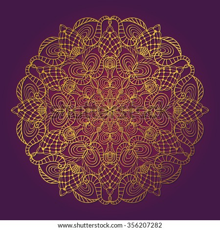Mandala pattern. Vintage decorative vector ornament,background. East,Islam,Arabic,Indian,ottoman motif.Abstract Tribal,ethnic texture.Gold,lilac  Orient,symmetry lace,meditation symbol.Sacred geometry - stock vector