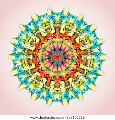 Mandala. Round ornament pattern, orange and green - stock vector