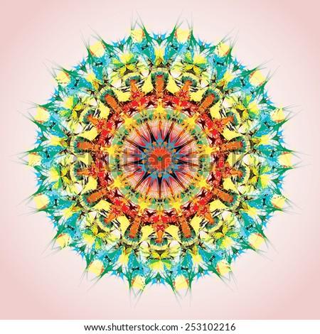 Mandala. Round ornament pattern, orange and green - stock vector