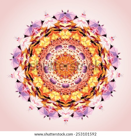 Mandala. Round ornament pattern, orange and violet - stock vector