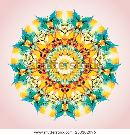 Mandala. Round ornament pattern, orange and yellow - stock vector