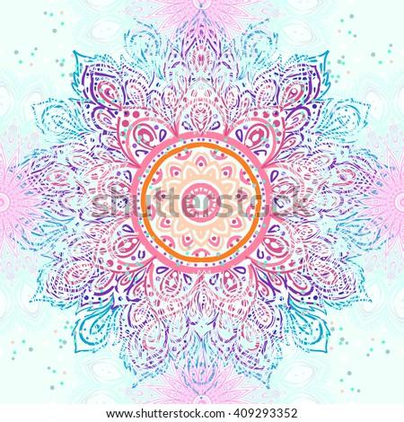 Mandala seamless pattern. Vintage decorative elements. Hand drawn background. Islam, Arabic, Indian, ottoman motifs. Geometric circle element  in vector. Kaleidoscope, medallion, yoga concept. - stock vector