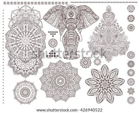 Mandala Set Elephant Vector Ornament Invitation Stock