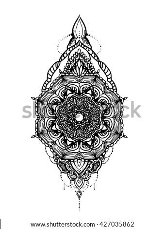 Mandala Tattoo Template Design Stock Vector   Shutterstock