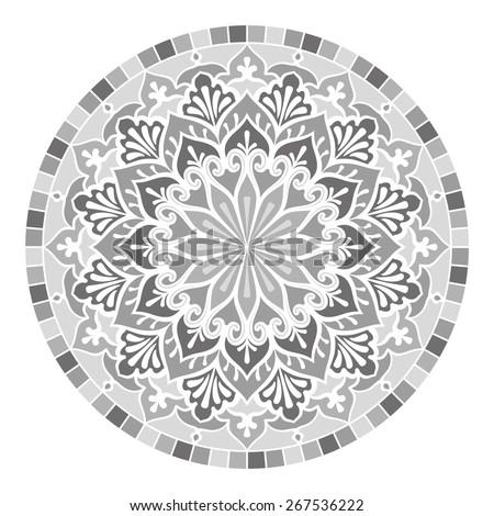Mandala. Vector Ethnic Oriental Circle Ornament. Monochrome Colors - stock vector