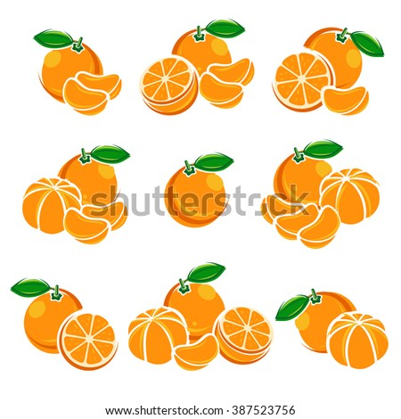 Mandarin set. Vector - stock vector