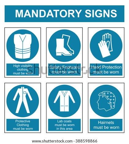 Mandatory safety sign set isolated on white background - stock vector