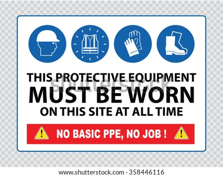 Mandatory sign for construction zone (hard hats, hi-vis vest, hand and foot protection must be worn) - stock vector