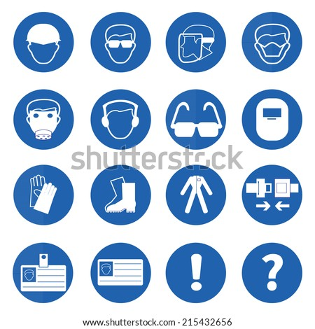 Mandatory signs, Construction health and safety sign used in industrial applications.Vector illustration - stock vector