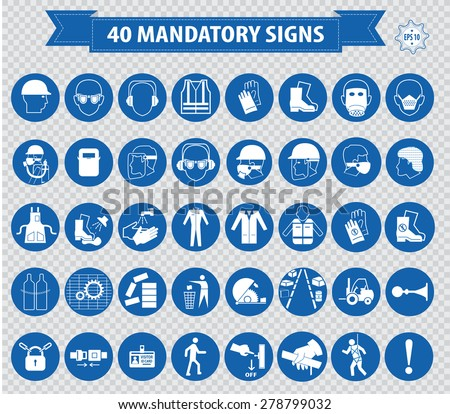 mandatory signs, construction health, safety sign used in industrial applications (safety helmet, gloves, ear protection, eye protection, foot protection, hairnet, respirator, mask, antistatic, apron) - stock vector