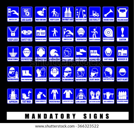 mandatory signs, vector - stock vector