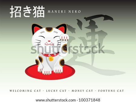"Maneki Neko (Japanese Lucky Cat) Japanese text up-left means ""Maneki neko"", and the symbol in the background means ""Luck"""