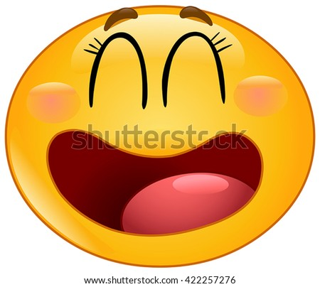 Manga emoticon laughing with closed eyes - stock vector