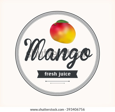 mango juice. Detailed Vector label. Series of food and drink.
