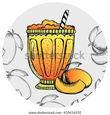 Mango milkshake, ice cream, cocktail in a glass with slices of fruit. Hand drawn banana smoothie on the white background. Vector illustration. - stock vector