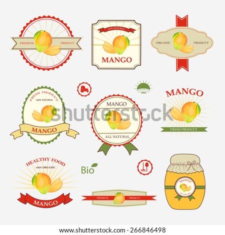 Mango Set Label Design Templates Vector Vector 266846498 – Label Design Templates