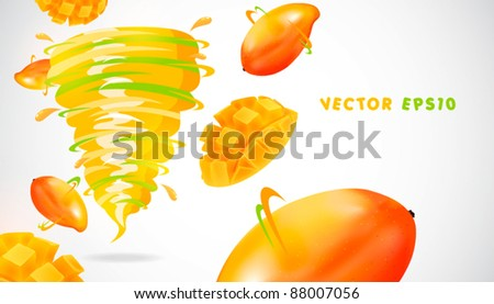 mango with juicy twister - stock vector