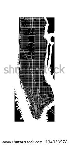 Manhattan Map - stock vector