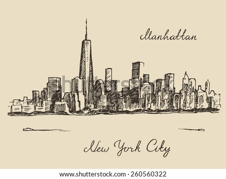 Manhattan New York United States of America, engraved vector illustration, hand drawn, sketch - stock vector