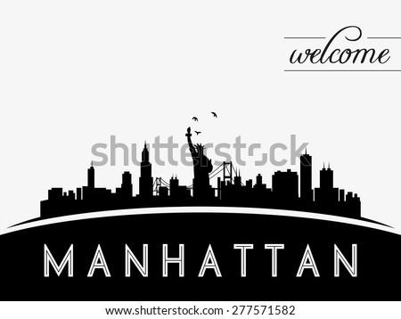 Manhattan New York USA skyline silhouette, black and white design, vector illustration - stock vector