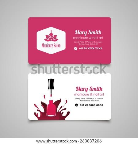 Manicure salon business card design templates set - stock vector