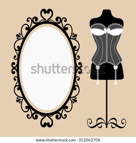 mannequin and corset and a mirror - stock vector