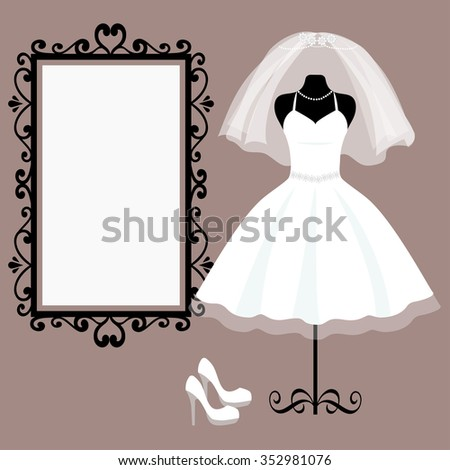 mannequin and wedding dress and mirror square - stock vector