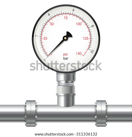 Manometer and Chrome pipes with flange. Vector illustration isolated on white background - stock vector