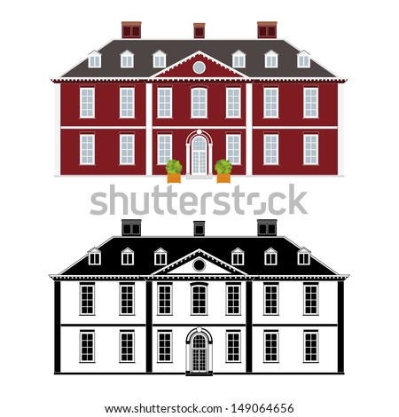 Mansion in 18th century Queen Anne style, color and black monochrome version on different layers - stock vector