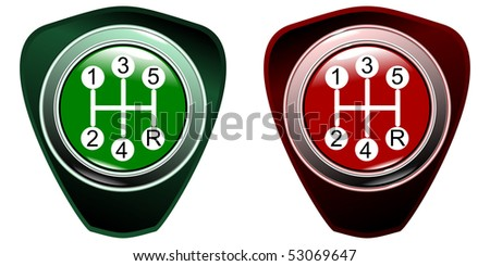 manual automobile lever of a gear change of 5 speed green and red colletion on white background eps10 - stock vector