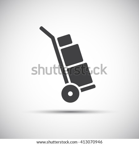 Manual cart icon, simple hand truck with boxes, vector illustration - stock vector