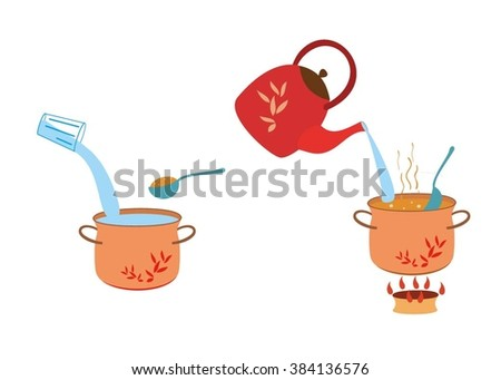 Manual instructions for cooking porridge. Cooking instructions. - stock vector
