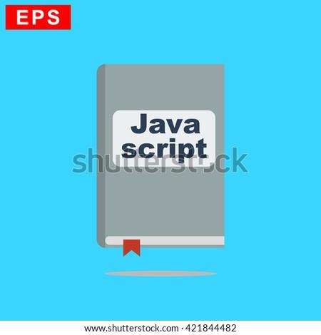 manual javascript book icon, vector handbook javascript icon, isolated book icon - stock vector