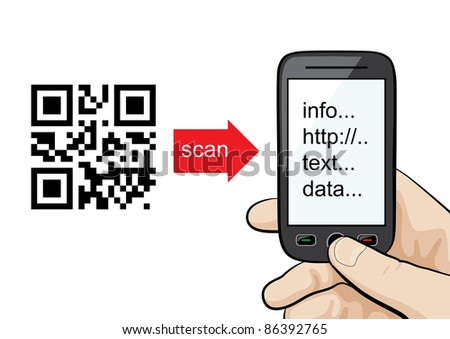 Manual or concept: mobile phone in the male hand scanning qr code. - stock vector